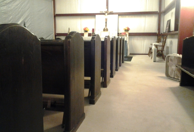 New Pews at St. Dominic's Catholic Chapel
